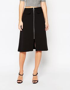 Image 4 of ASOS A-line Midi Skirt with Zip and Pocket Detail