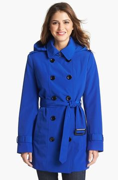 $158, Blue Coat: Calvin Klein Double Breasted Trench Coat. Sold by Nordstrom. Click for more info: https://lookastic.com/women/shop_items/12841/redirect