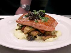 Salmon with Fig Jam recipe from Robert Irvine via Food Network Robert Irvine, Jam Recipes, Fish Recipes, Guava Recipes, Chefs, Food Network Recipes, Food Processor Recipes, Lemon Vinaigrette, Fig Jam