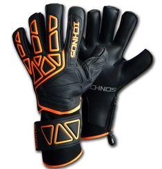 Ichnos Vertex Extended Palm finger saver goalkeeper gloves Black Orang – ICHNOS SPORTS