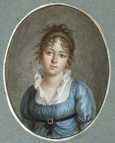 Light curls. Benjamin Samuel Bolomey Mlle Bourgeois,crayon, sanguine, pastel et aquarelle sur papier vers 1800 © MHL