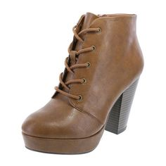 Women's Macaroon Lace-Up Boot ($40) ❤ liked on Polyvore featuring shoes, boots, laced up boots, round toe boots, high heel shoes, chunky boots and lace up boots