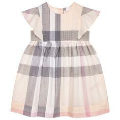 BURBERRY Girls Apricot Checked Dress