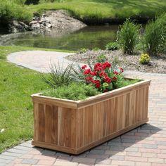 Rectangle Teak Wood Road Tree Box