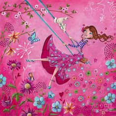 Swing Girl Painting by Caroline Bonne-Muller - Swing Girl Fine Art Prints and Posters for Sale