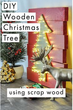 Learn how to make a DIY wooden Christmas tree decorated with LED lights using scrap wood. Great for indoors or outdoors! Easy beginner-friendly DIY woodworking project idea! #anikasdiylife #woodworkingproject #Christmas Christmas Tree Cut Out, Christmas Tree Drawing, Wooden Christmas Trees, Diy Christmas Ornaments, All Things Christmas, Christmas Tree Decorations, Beginner Woodworking Projects, Diy Woodworking, Globe Ornament