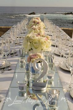Wedding imperial table decor at Esperanza resort Los Cabos: blush and mirror details!