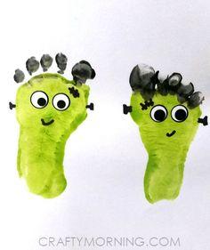 Footprint Frankensteins (Kids Halloween Craft) - Crafty Morning