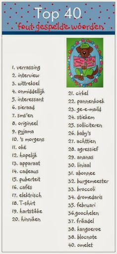 van Juf-Stuff: Top 40 fout gespelde woorden.  Ik heb ze op www.bloon.nl gezet om te oefenen.
