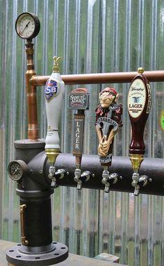 Custom Steam Punk Gadget Industrial Draft Beer Tower by TappedBeer