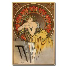 This canvas art is a fine art reproduction of Mucha by Alphonse Mucha. It is fully finished, arriving ready to hang on the wall of your choice. - Artist: Alphonse Mucha - Title: Mucha - Style: Vintage