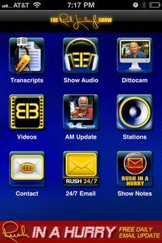 Rush Limbaugh iPhone app Rush Quotes, Iphone Owner, Rush Limbaugh, Iphone App