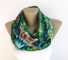 st patricks day ,green abstract print scarf ,spring scarf ,women infinity scarf ,summer fashion scarf , circle scarf on Etsy, $19.00