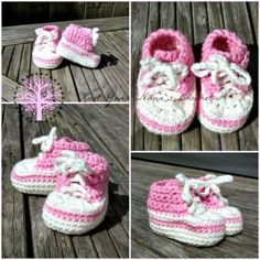 Crochet Converse Newborn High Tops Pattern - Crochet Baby Booties - 55 Free Crochet Patterns for Babies - DIY & Crafts