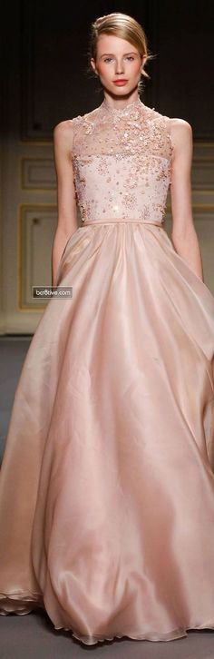 Georges Hobeika Couture Collection Spring 2013, Pink Champagne Gown Gorgeous