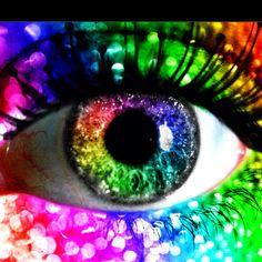 rainbow glitter eye by kolopolo on DeviantArt Rainbow Eye Makeup, Rainbow Eyes, Rainbow Art, Rainbow Colors, Rainbow Things, Rainbow Stuff, Rainbow Pride, Pretty Eyes, Cool Eyes