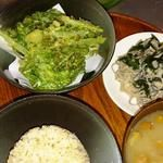 GAZIO - うどの花芽とかぶの葉のてんぶら、若布と茸入りおそばのサラダ、賢者の妙泉はなめこのお味噌汁、有機栽培発芽玄米