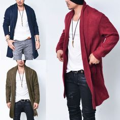 Loose Fit Light-weight Wool Shawl Jacket-Cardigan 145 by Guylook.com