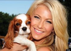 """""""Dancing with the Stars"""" singer Julianne Hough is all smiles with her Cavalier King Charles Spaniel, Lexi."""