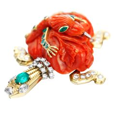 Cartier Paris by Jeanne Toussaint Carved Antique Coral Gem Set Turtle Brooch | From a unique collection of vintage brooches at http://www.1stdibs.com/jewelry/brooches/brooches/