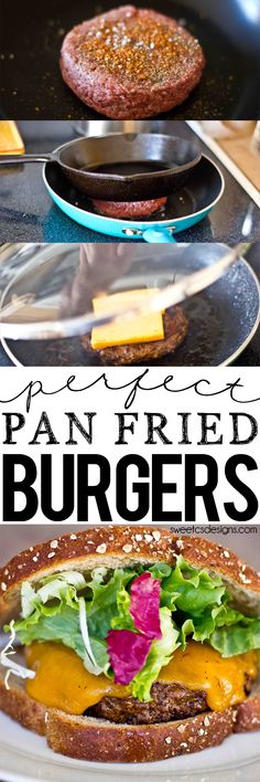 Perfect pan friend burgers- this is the best method to make burgers inside! Perfect melty cheese quick cooking and keeps its shape! Pan Burgers, My Burger, Burger And Fries, Paninis, Meat Recipes, Dinner Recipes, Cooking Recipes, Pan Fried Hamburgers, Stovetop Burgers