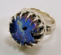 Dichroic Glass and Sterling Silver Ring  by SilverStringsStrands, $60.00