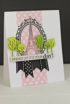 Pinkies Up Card by Erin Lincoln for Papertrey Ink (October 2013)