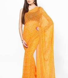 Buy Orange Chiffon Bandhej Saree bandhani-sarees-bandhej online