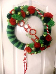 Christmas Yarn Wreath. $45.00, via Etsy.