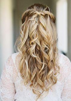 simple half up half down wdding hairstyle idea via Lane Dittoe Photography