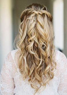 simple half up half down wdding hairstyle idea via Lane Dittoe Photography / http://www.deerpearlflowers.com/15-stunning-half-up-half-down-wedding-hairstyles-with-tutorial/