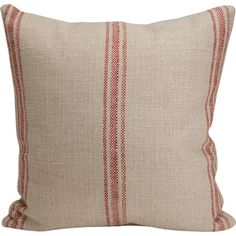 Add a touch of rustic style to your sofa or daybed with this sand-hued pillow, showcasing a timeless red stripe pattern.   Product: ...