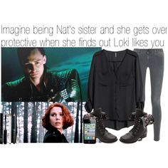 Imagine being Nat's sister and she gets over protective when she finds out Loki likes you by fandomimagineshere on Polyvore featuring polyvore, fashion, style, H