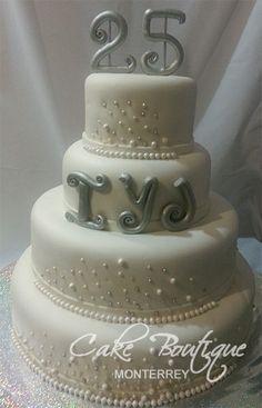 25th Anniversary Cake, Pastel Bodas de Plata