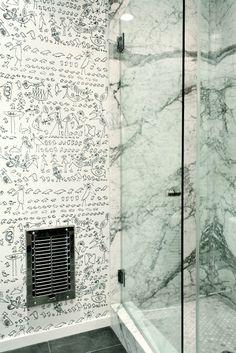 Master Bathroom, DISC Interiors | Remodelista Architect / Designer Directory    Wallpaper/Marble