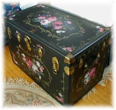 Hand painted trunk by Debi Coules.on black Painted Trunk, Painted Chest, Painted Chairs, Hand Painted Furniture, Funky Furniture, Paint Furniture, Repurposed Furniture, Shabby Chic Furniture, Furniture Makeover