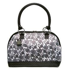 Harveys Large Belle Satchel Black and White Floral Handbag