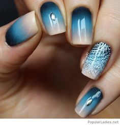 Blue and grey nail art with awesome details
