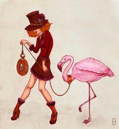 Flamingo Walking by ~EkinArt on deviantART