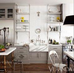 "gray, open shelving, bridge faucet, amazing marble farmhouse sink, range (from Windsor Smith's ""House of Windsor"", Veranda)"