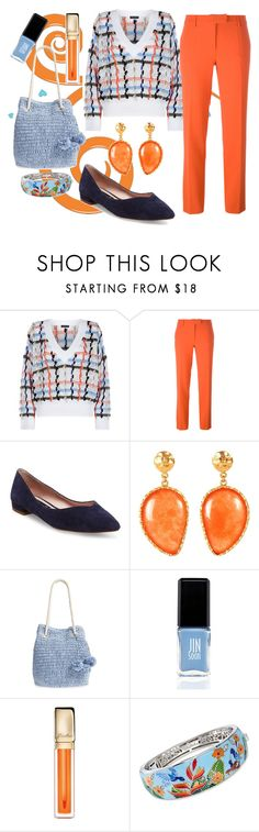 """pop of Orange"" by forgetrules ❤ liked on Polyvore featuring rag & bone, Boutique Moschino, Steven by Steve Madden, Christina Greene, Tommy Bahama, JINsoon, Guerlain, Belle Etoile, orangeoutfit and popsoforange"