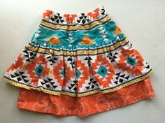 This is a sweet double ruffle skirt. The Penelope Skirt is a Violette Field Threads pattern. This skirt is a size Black and white and teal and Double Ruffle, Skirts For Sale, Ruffle Skirt, Aztec, Boho Shorts, Teal, Trending Outfits, Black And White, Sweet