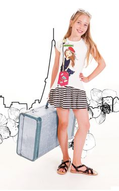 """SS16: She's ready to say """"Bon Voyage"""" in Limeapple's charming Bliss Dress that sports a fun graphic of her beret-wearing alter-ego. www.limeapple.com"""