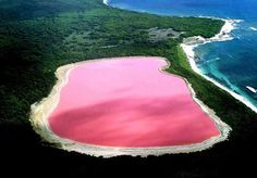 Lake Hillier Lago Rosa...  pink lake Australia & safe to swim in