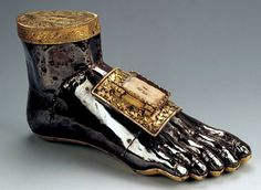 Pied noir: reliquary of St Blaise, a 4th century Armenian bishop, made in Namur, Belgium, c.1260 when his cult was at it height. It may have contained other relics as well as his foot.