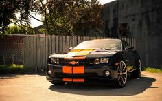 Black with Orange stripes Chevy Camaro