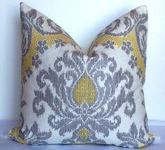 Waverly Coordinating Fabrics   Designer IKAT pillow cover Waverly decorative cushion 20x20 silver ...