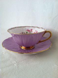 Shelley Oleander Royal Purple Teacup and Saucer by MariasFarmhouse, $135.00