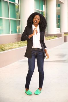 Blazer + Button-Up + Ankle Length Jeans