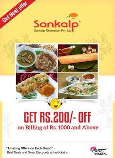#South Indian flavour is added to this #Diwali with Sankalp discount coupon on every Hotel bookings or travel bookings via Fastticket.in! #FREE discount coupon of same value on every bookings.   Enjoy the south Indian style